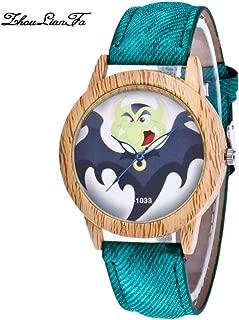SuSip Halloween Decorations Quartz Casual Watch Crystal Bat Blue Needle Wood Grain Watches Halloween Watch New