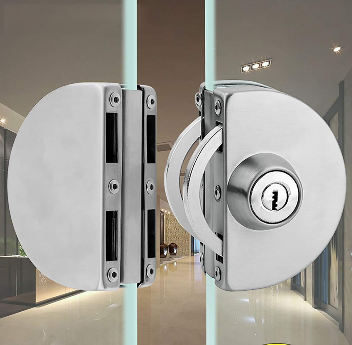 Qrity Cerradura para puerta de cristal, Cerradura de seguridad antirrobo de la puerta de cristal del acero inoxidable 8~12mm con las llaves Abra/cierre el uso casero del cuarto: Amazon.es: Bricolaje y herramientas
