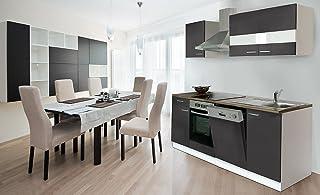 respekta Küche Küchenzeile Einbauküche 220 cm Weiß Front Grau CERAN KB220WGC