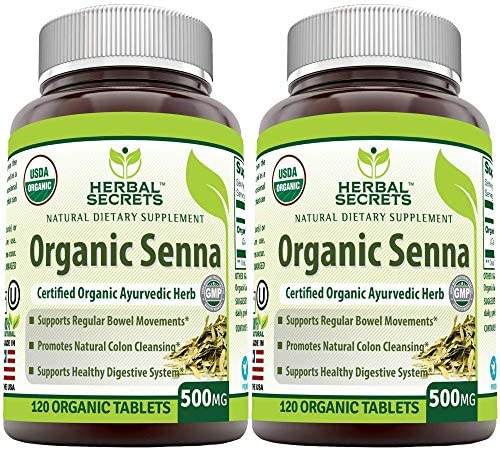 Herbal Secrets Organic Senna 500 Mg 240 Organic Tablets Non GMO Supports Healthy Weight Management product image