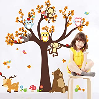 Wall Stickers of Tree & Monkey Owls Animals Wall Decals for Kids Rooms Nursery Baby Boys & Girls Bedroom Removable Home Sticker