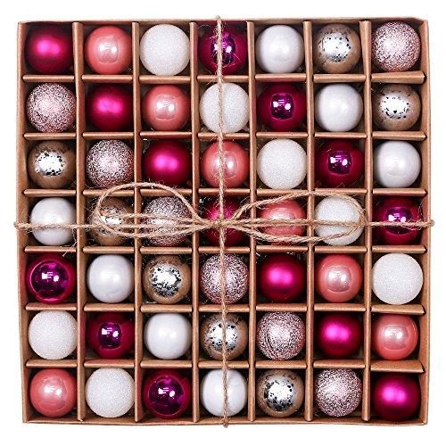 Valery Madelyn Weihnachtskugeln 49 Stücke 3CM Kunststoff Christbaumkugeln Weihnachtsdeko mit Aufhänger Glänzend Glitzernd Matt Weihnachtsbaumschmuck Dekoration Rosa Silber