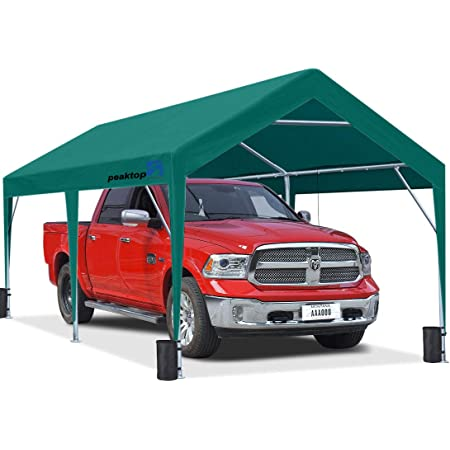 PEAKTOP OUTDOOR 10 x 20 ft Upgraded Heavy Duty Carport Car Canopy Portable Garage Tent Boat Shelter with Reinforced Triangular Beams and 4 Weight Bags,Green