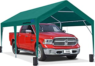 Peaktop Outdoor 10 x 20 ft Upgraded Heavy Duty Carport Car Canopy Portable Garage Tent Boat Shelter with Reinforced Triang...