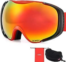 Gonex Polarized Ski Goggles Anti-Fog Anti-Glare Snow Goggle UV400 Protection with Oversized Double Spherical Lens for Men Women Youth+ Goggle Case