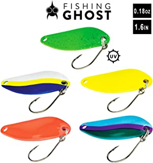 FISHINGGHOST Spoon Set - Casper, Weight: 018oz /pcs, Length: 1.6inch, Trout Lures, Trout Spoons, Trout Fishing, Fishing Lures, Fishing Spoons - Perfect for Spin Fishing (5X)
