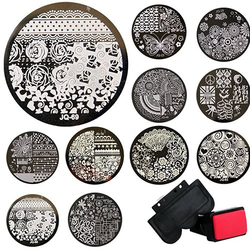 Bodhi2000 - Kit de stamping nail art comprenant 10 plaques + 1 tampon + 1 racloir, stampings ronds métalliques, assortiment de motifs aléatoires