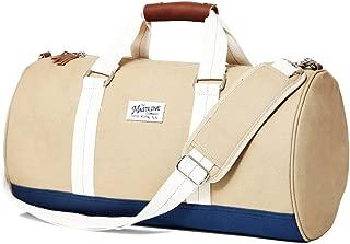 THE MASTLINE Co. | Hudson Barrel Duffel Travel Bag | Canvas & Leather (Khaki)