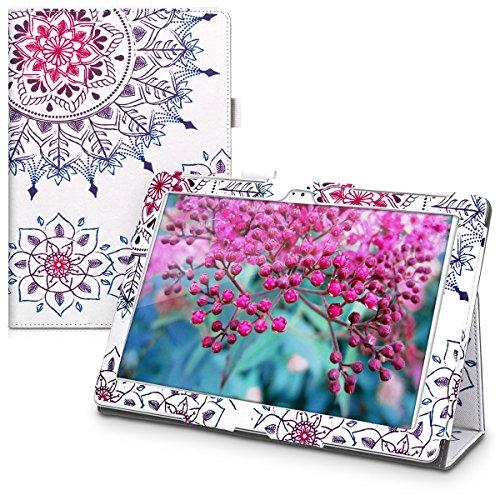 custodia tablet asus kwmobile Custodia Compatibile con ASUS ZenPad 10 (Z300) - Cover Tablet con Supporto - Copertina in Pelle PU Smart Case con Stand - Art Mandala Fucsia/Blu/Bianco