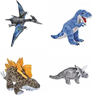 Animal Den 4 Piece Plush Dinosaur Set - T-Rex, Triceratops, Pteranodon, & Stegosaurus