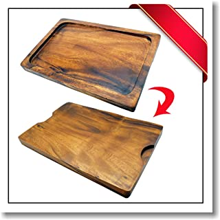 Innovatronix 1 Piece Handmade 14x10 Inches Wooden Large Acacia Rectangle Reversible Cutting Board/Tray - Rustic Acacia Rectangle Reversible Chopping Board/Tray | 14.25x10x1 Inches