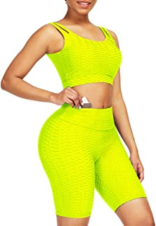 Wonder-Beauty Gym Clothes for Women Shorts Solid Color Athletic Set Sleeveless Yoga Outfits 2 Piece Set Plus Size Comfy