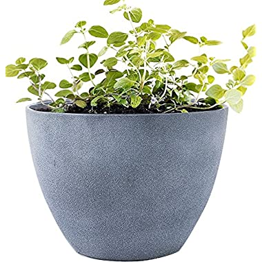 Flower Pot Large 14.2  Garden Planters Outdoor Indoor, Unbreakable Resin Plant Containers with Drain Hole, Grey for Fathers Day Gift