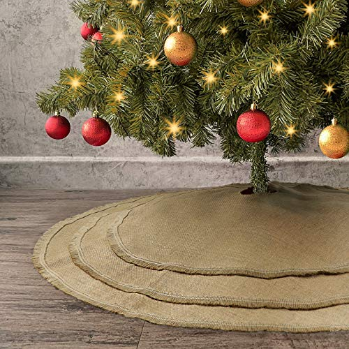 Ivenf Christmas Tree Skirt, 48 inches Natural Burlap Jute Plain with Tassels, Rustic Xmas Holiday Decoration…