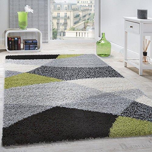 Paco Home Shaggy Teppich Hochflor Langflor Weich Geometrisch Gemustert Grau Schwarz Grün, Grösse:300x400 cm