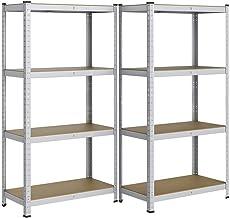 Yaheetech Set van 2 opbergrekken, 160 x 80 x 40 cm, voor zware lasten, verzinkt kelderrek, 4 planken, reksystemen, 640 kg ...