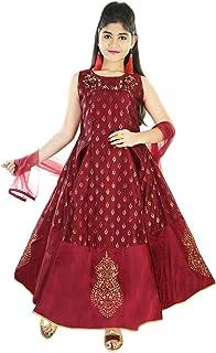 Aura Girl's Ethnic Printed Silk Wedding Gown