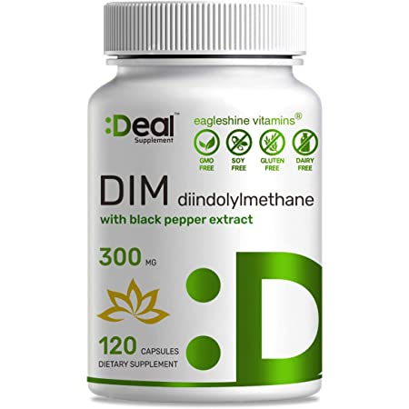 DIM Supplement 300mg (Diindolylmethane) with Black Pepper Extract, 120 Vegan Capsules, 4 Months Supply, Estrogen Balance, Supports Acne & PCOS Relief