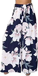 A Forever Fairness Women's Pant Chiffon Printed Loose Wide Leg Pants with Belt Print Long Trousers for Women