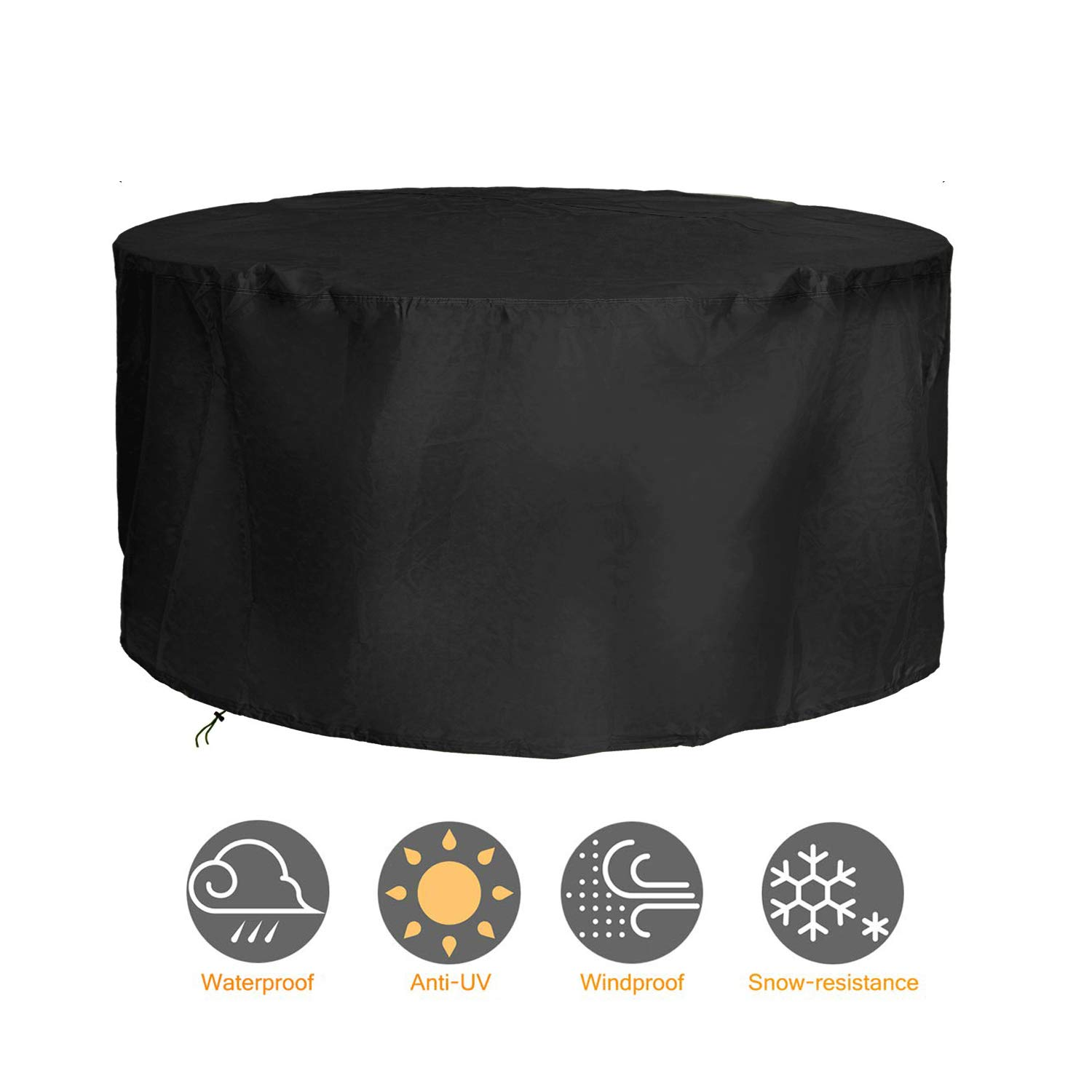 2.6ft x 8.3ft 5 YEAR GUARANTEE Woodside Black 6-8 Seater Round Outdoor Garden Patio Furniture Set Cover 0.8m x 2.52m