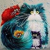 WATAKA DIY Malen Nach Zahlen für Erwachsene und Kinder Vorgedruckt Leinwand-Ölgemälde Kits Mit Holzrahmen für Home Haus Dekor mit MEHRWEGVerpackung - Katzen 16 * 20 Inch