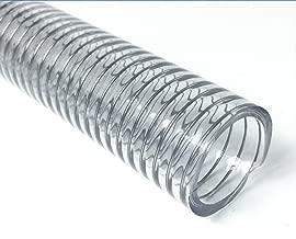 Steel Wire Reinforced Clear Plastic Vinyl Flexible PVC Tubing Hose, 2
