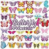 Temporaire Tatouages pour les enfants (80pcs),Qpout Tatouages de Papillon Princesse Fille Tatouages Art Autocollants pour Enfants Fête D'anniversaire Faveurs Fournitures Grands Enfants Accessoires