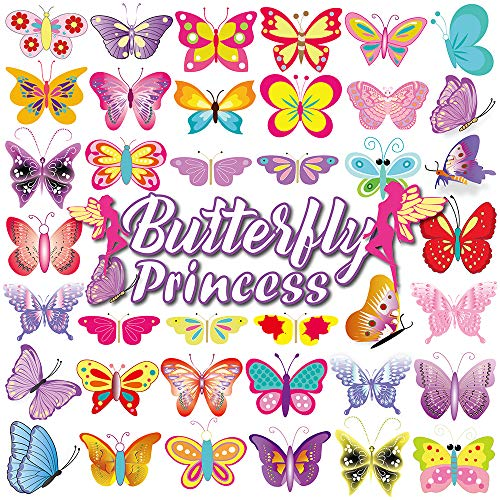 Temporary Tattoos for Kids(80pcs),Konsait Colorful Butterfly Tattoos Body Art Stickers for Children Girls Birthday Party Favors Supplies Great Kids Party Accessories Goodie Bag Stuffers Party Fillers