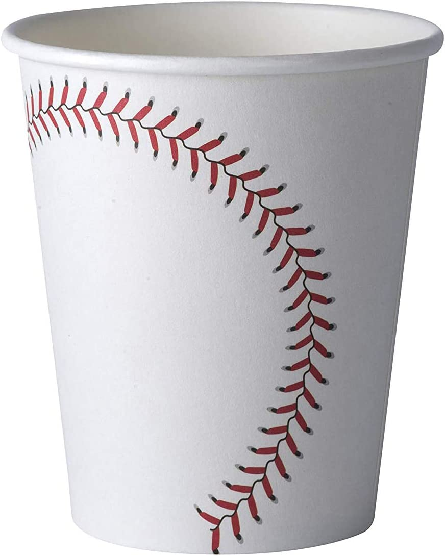 Baseball Themed 9 oz Disposable Paper Cups - (50 Pack) - Birthday Party Supplies Ideal for Game Day, Tailgate Parties and Family Dinner