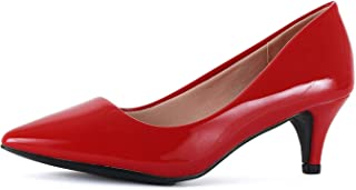 Guilty Shoes Womens Classic - Closed Pointy Toe Low Kitten Heel - Dress Slip On Pump (8, 16-red-Patent)