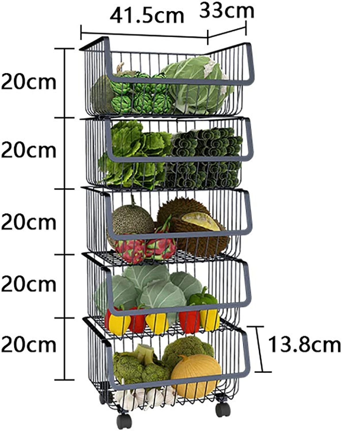 Multi-Layer Kitchen Storage Rack, Metal Pulley Easy to Move Kitchen Bathroom and Balcony (Size   D)