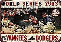 1963年のワールドシリーズベースボールドジャースヤンキースの複製ブリキ看板