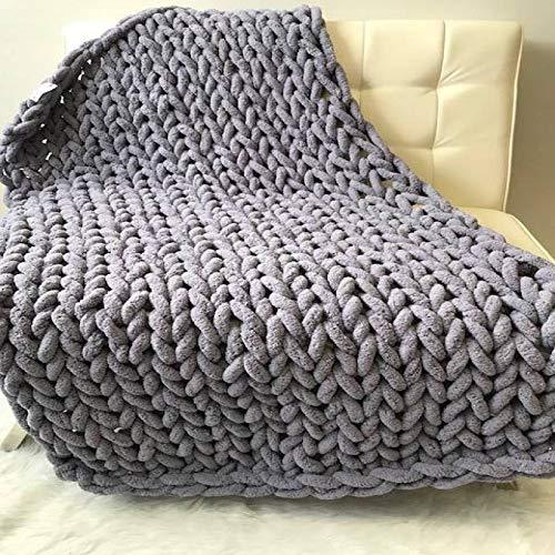 IADZ Blanket,Chenille Chunky Knitted Blanket Weaving Blanket Mat Throw Chair Decor Warm Yarn Knitted Blanket