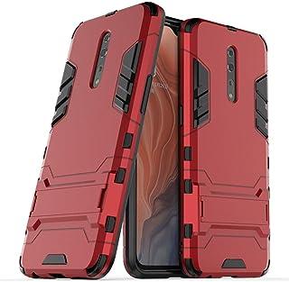 غطاء حماية لهاتف اوبو رينوZ (6.4 انش) 2 في 1 مضاد للصدمات مزود بمسند يتميز بطبقة مدرعة هجينة مزدوجة (احمر)