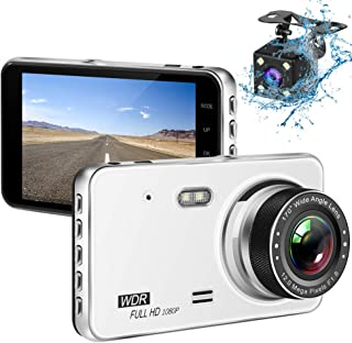 ASKCUT 1080P Dash Camera Front and Rear Dual Recorder for Cars, Shimmer Night Version Dashboard Cam, 4'' Anti-glare Blue Light IPS Screen 170° Wide Angle, WDR, Loop Recording, Parking Motion Detection