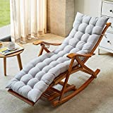 TopJiä Lounge Lounge Chairs Folding Rocking Chair,Bamboo Zero Gravity Chair Summer Cool Sun Lounger,Adjustable Recliner with Padded Gray Chair + Long Cushion