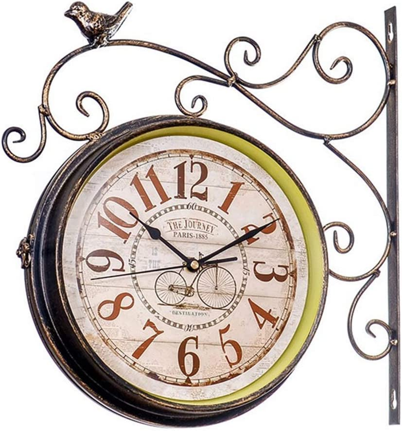 Wall Clock Double Sided OFFicial store Battery Rustic Operated Some reservation Indoor European