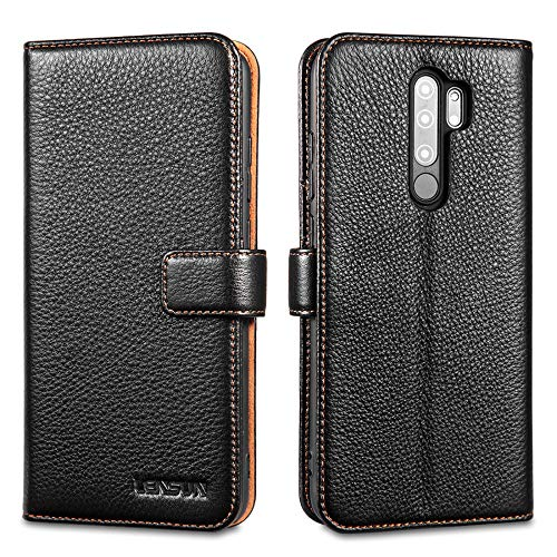 LENSUN Echtleder Hülle für Xiaomi Redmi Note 8 Pro, Leder Handyhülle Kartenfächer Handytasche Lederhülle kompatibel mit Xiaomi Redmi Note 8 Pro – Schwarz(MN8P-LG-BK)