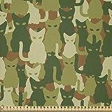 ABAKUHAUS Katze Stoff als Meterware, Kätzchen Silhouetten