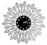 Lulu Decor, Decorative Leaf Metal Wall Clock, Black Glass Dial...