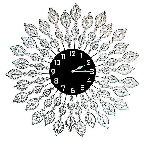 Lulu Decor, Decorative Leaf Metal Wall Clock, Black Glass Dial...