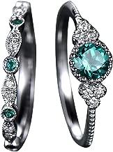 Haluoo 2 PCS Wedding Rings Natural Gemstone Rings Set Emerald Sapphire Wedding Band Diamond Statement Engagement Anniversary Promise Ring Jewelry for Women Men