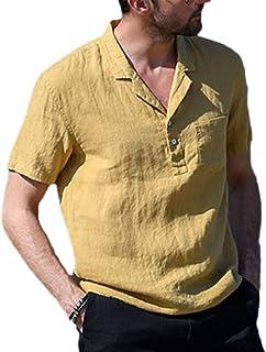 قميص رجالي من القطن والكتان، قميص كاجوال برقبة على شكل حرف V قصير الأكمام مطبوع عليه Beach Hippie Yoga بلون سادة للصيف قمي...
