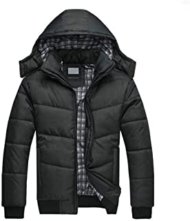 Leoie Men Warm Parka Jacket for Men Winter Cloth Long Sleeve Plus Size Cotton Padded Jacket Warm Hooded Overcoat Casual Winter Big Size Outwear for Men Solid Black Big Pocket Zipper Causal Basic Coats