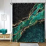 Verngo Abstract Marble Shower Curtain Art, Modern Luxury Black Gold Veins Exotic Moroccan Green Malachite Glitter Marbling Bathroom Shower Curtain Set, Waterproof Fabric Boho Decor, 72 X 72 Inch