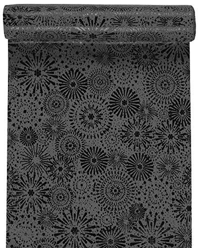 RP RIBBON Designer-Tischläufer, Baumwolle, Anthrazit/Schwarz, Rot/Gold oder Blau/Gold, 28 cm x 3 m, ideal für Weihnachten. Charcoal/schwarz