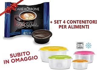 600 Capsule Compatibili Lavazza a Modo Mio Caffe' Borbone Don Carlo Miscela Blu + Omaggio Set di 4 CONTENITORI PER ALIMENTI
