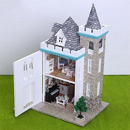 DIY Cottage Miniatura Casa De Muñecas De Madera 3D Kit De Casa De Madera En Miniatura DIY Castillo De Luz De Luna para El Día De San Valentín, Día del Niño, Navidad, Cumpleaños