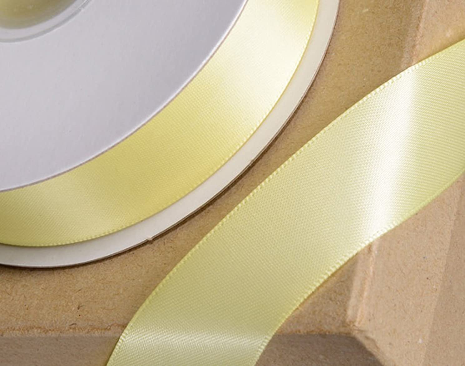10mm Satin Craft Ribbon - 25m Reel - Pale Yellow | Ribbon for Crafts