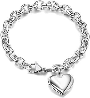 Bracelet for Women Handmade Romantic Silver Stainless Steel Oval Chain Heart Charm Bracelet (Length of 7-11